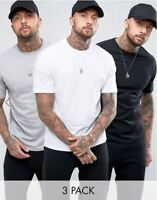 3 Pack Mens Fashion T Shirt White Black Grey All Sizes Soft-touch Cotton Street