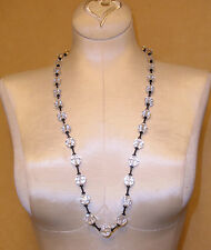 Classic Black & Clear Glass Crystal Bead Necklace by Pierre Cardin