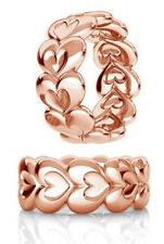 STERLING SILVER SPACER BEAD, HEART DESIGN & LARGE HOLE, ROSE GOLD PLATED, 8.5 MM