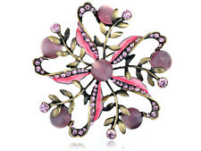 New Antique Chic Pink Rose Rhinestone Cat Eye Flower Pinwheel Pin Brooch Gifts