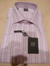 NEW $190 IKE BEHAR MENS SHIRT Sz 16.5 36 37 120s 2ply cotton Orchid Lilac chk BC