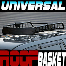 Black Roof Rack Rail Steel Basket Cargo Bag Utility Gear Kit w/Air Deflector S28