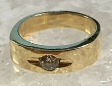 Mens 18k Yellow Gold Ring With Diamond Size 9.75 Vintage Solid Gold