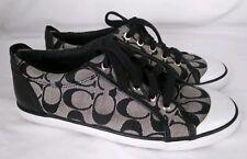 Coach Women's Barrett Gray Black Logo Low Top Sneakers Tennis Shoes Size 8 B
