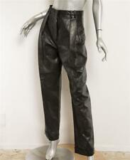 BALMAIN Black Distressed Leather High-Rise Pleat-Front Cuff Pants 8-40 NEW $4975