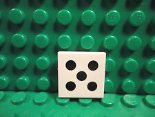 Lego 1 White 2x2 tile printed with 5 black dot dice NEW