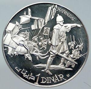 1969 TUNISIA History HANNIBAL ELEPHANTS Vintage Proof Silver 1 Dinar Coin i86256