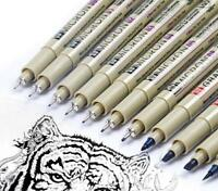 Sakura 9 Pcs Pigment Liner Pigma Micron Ink Fine Line Pen Set 005 01 02 03 04 05