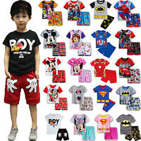 Pyjamas Boys Girls Cartoon Kids Short Nightwear Children's Pjs Ages 2-8 Years