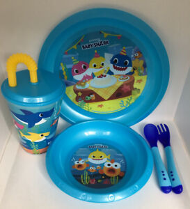 4 Piece Plastic Baby Shark Breakfast / Dinner Set - Plate Bowl Cup Cutlery NEW