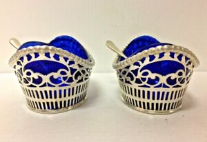 Antique Pair Of Silver 800 Cellars Salt Cellar With Inside Blue Crystal Bowls