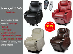 Real Leather Reclined Electric Head Massage Disable Chair Sofa 2 Motor Armchair