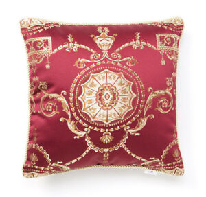 Regal Baroque Pillow Cover Wine Red Gold Decorative Royal Home Decor Cushion Zip