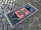 Turkish small rug, Handmade wool rug, Vintage rug, Doormat | 1,5 x 2,7 ft