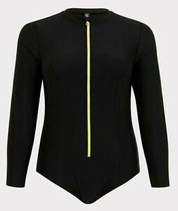 Torrid Black Rash Guard Swimsuit Yellow Zipper Zip Front One Piece Size 3 3X NWT