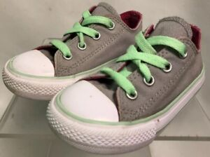 Infant Converse All Star shoes. Size 7 Gray/Green/Pink