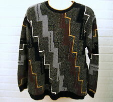 Tundra Chenille Acrylic Sweater Mens Sz Large Geometric Made in Canada