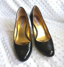 Ted Baker Women's Sz UK 5 / US 7 Black Patent Leather Heels Gold Detail Career