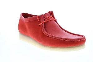 Clarks Wallabee 26151267 Mens Red Suede Lace Up Chukkas Boots 9.5