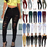 Womens Ripped Skinny Fit Pants Jeggings Stretch High Waist Jeans Pencil Trousers