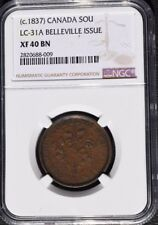 1837 Canada 1 sou, Belleville Issue, NGC XF 40, LC-31A