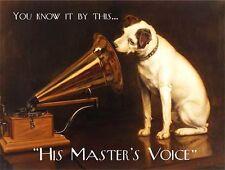 Hmv gramophone chien, Musique, Bar Pub & RESTAURANT Master's voix, large métal /
