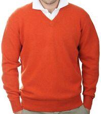 Balldiri 100% Cashmere Uomo Pullover Scollo a V 4-fädig Arancione Scuro XXL