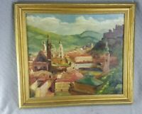 VINTAGE ITALIAN SICILY Landscape Original Oil On Board Signed H N Jemler 1952