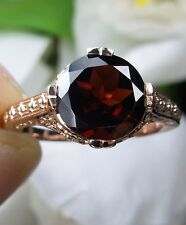 2ct Natural Garnet 14k Rose Gold Flower Victorian Design Filigree Ring Size 10.5