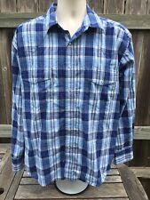 Wrangler Blue Plaid Pearl Snap Western Shirt Size XL Rockabilly Cowboy