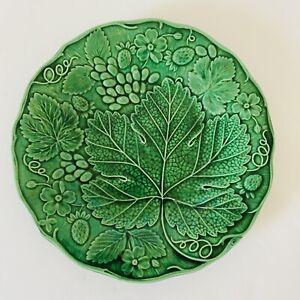 Vintage Antique Majolica Green Vine Leaf Leaves Plate  Victorian 1870-80 D22cm