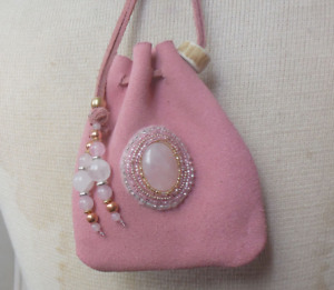 Beaded Rose Quartz Pink Suede Leather Drawstring Leather Medicine Bag Pouch
