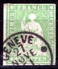 """SUISSE N° 30 de 1854 oblitéré """"helvetia"""" coté 80€ (70ct de port)"""