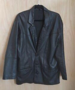 Men's Vintage Leather Jacket Blazer Black Mod Retro Chest 3 button VGC