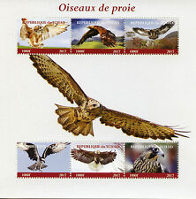 Chad 2017 MNH Birds of Prey 6v M/S Falcons Ospreys Eagles Stamps