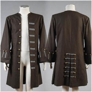 Pirates Of The Caribbean Captain Jack Cos Sparrow Jacket Coat Halloween Costume