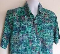 Rum Reggae Tropical Hawaiian Short Sleeve Shirt Mens Size L Blue/Teal