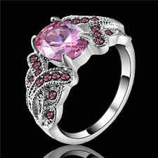 Size 8 Pink Sapphire Wedding Rings white Rhodium Plated Women's Jewelry