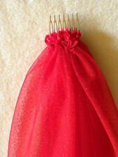 Hens Night Bachelorette Party 50cm VEIL RED GLITTER DOTS for the bride to be