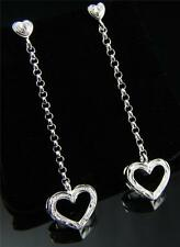 STERLING SILVER 925 HAWAIIAN SCROLL HEART CHAIN DANGLE THICK HEART EARRINGS