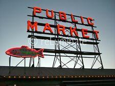 Seattle Pike Place Public Market 24x18 photo on aluminum