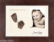 New 3D Unisex 1st Birthday Gift Baby Casting Kit Hands & Feet Mahogany Frame