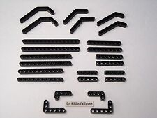 24 Lego Technic Liftarms All Black Studless Straight Angle Beam Mindstorms Lot A