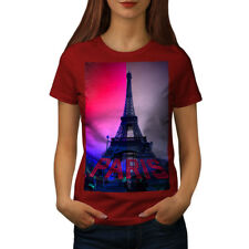 Wellcoda Coloured Tower Womens T-shirt, France Casual Design Printed Tee