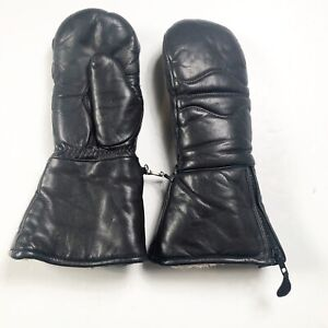 Mens Vintage Olympia Ski Mittens Black Leather 70s 80s Size XS Lined