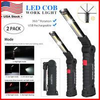 Rechargeable COB LED Slim Work Light Lamp Flashlight Magnetic Foldable Inspect