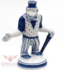 Gzhel Porcelain Circus Monkey in Tuxedo suit Figurine handmade souvenir