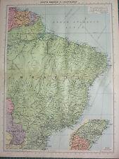 1940 MAP ~ SOUTH AMERICA NORTH EAST ~ BRAZIL GUIANAS ~ PARAGUAY RIO DE JANEIRO