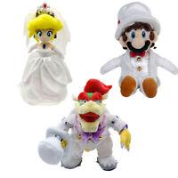 """9""""-14"""" Super Mario Odyssey Bowser Princess Peach Plush Doll Toy Wedding Style"""