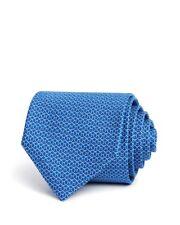 $375 SALVATORE FERRAGAMO ITALY Mens BLUE WHITE SLIM SILK SKINNY NECK TIE 59X3.25